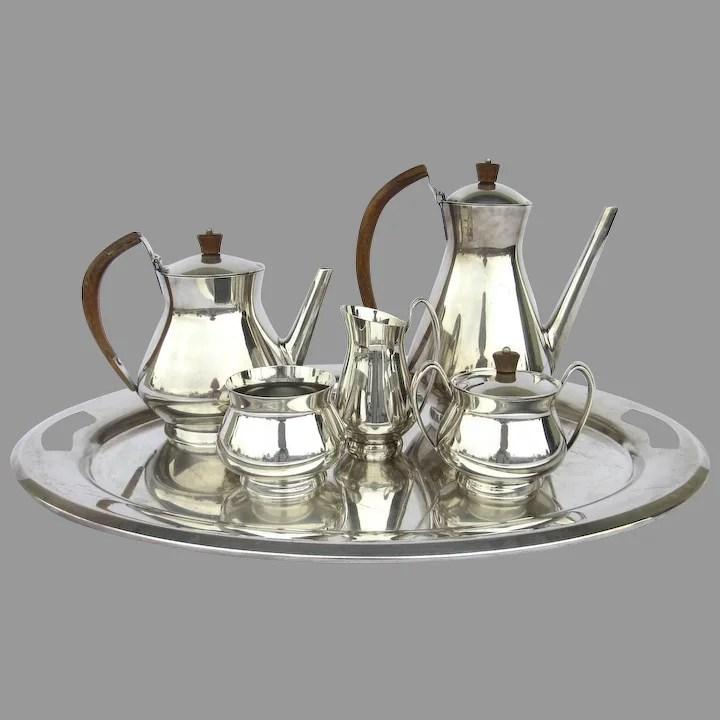 gorham silver plate tea coffee set service 6 piece mid century modern