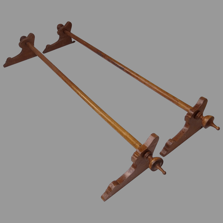 set of two walnut wood curtain rods brackets and finials