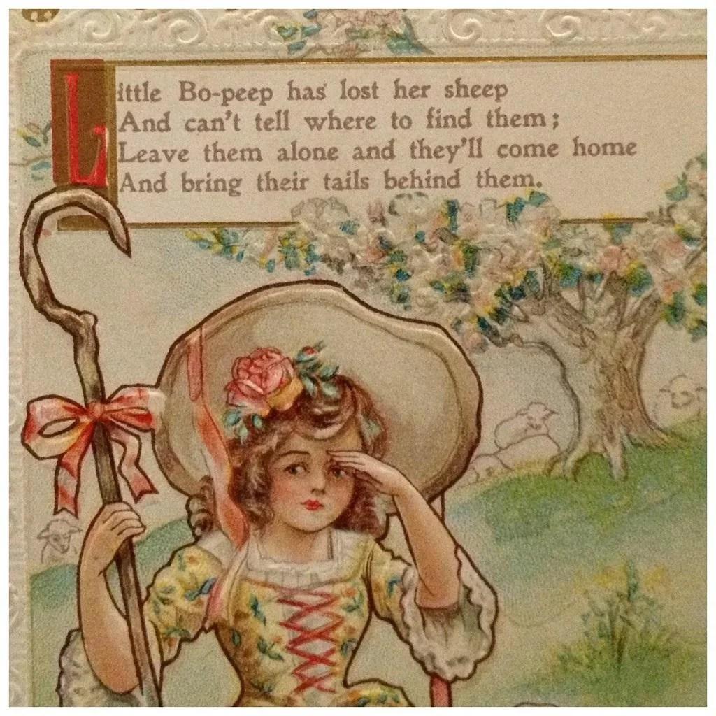 Nursery Rhyme Postcard Little Bo Peep Atticink