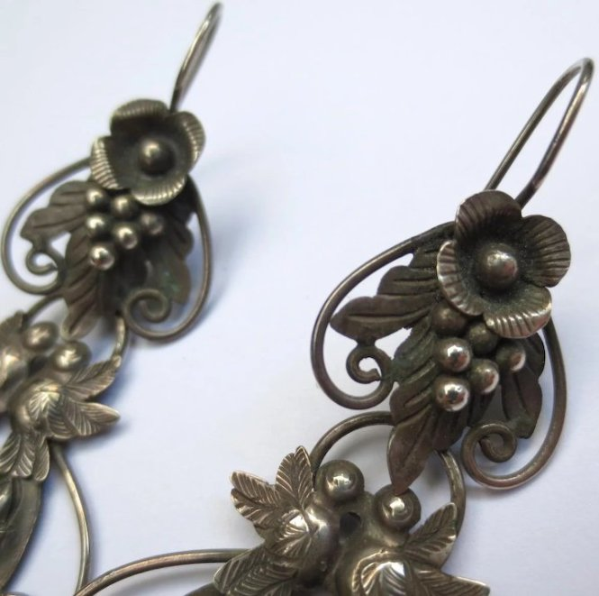 Vintage Mexican Silver Fl Bird Chandelier Earrings