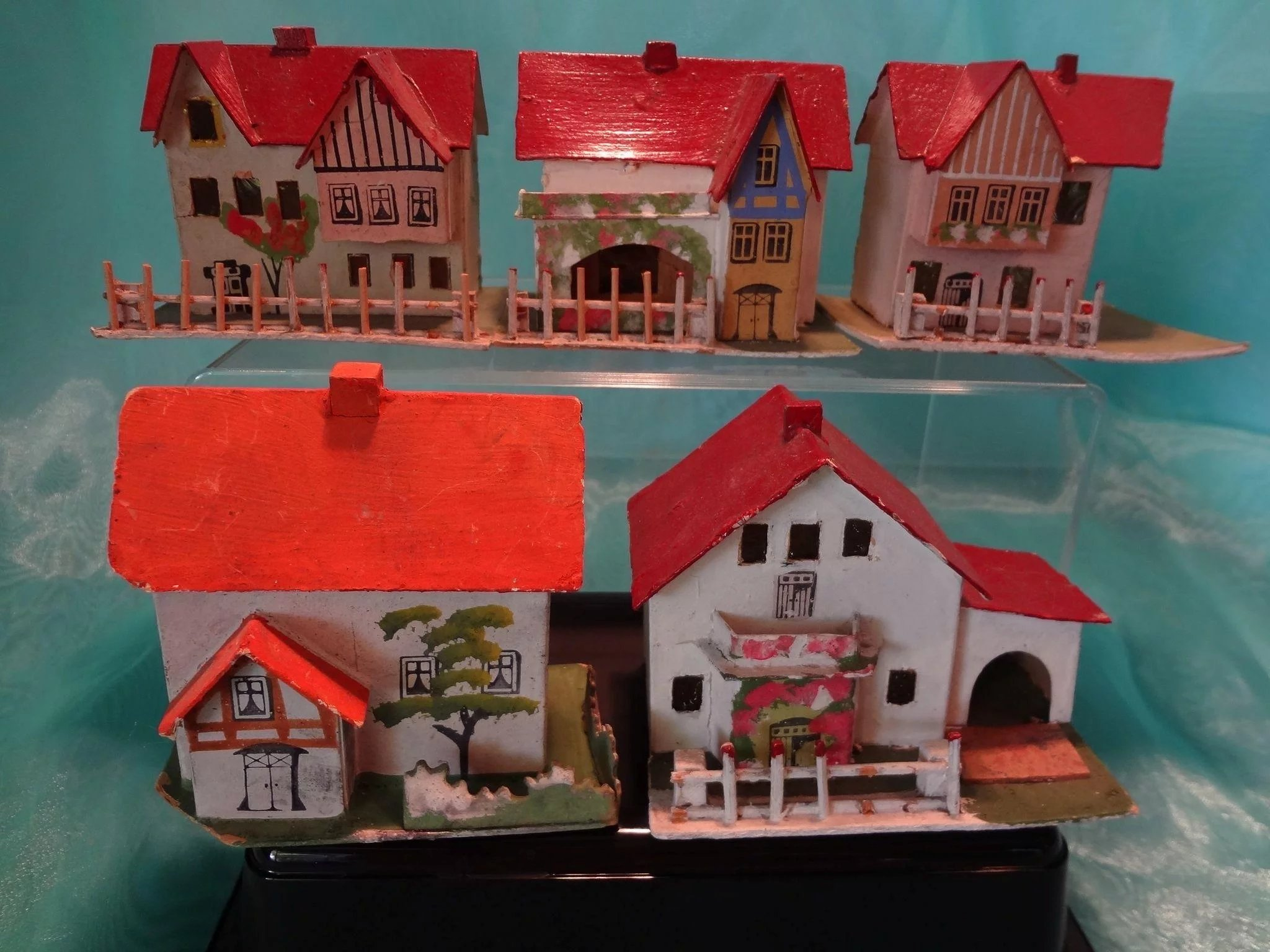 German Christmas Village Of Card Stock Houses In Amazing