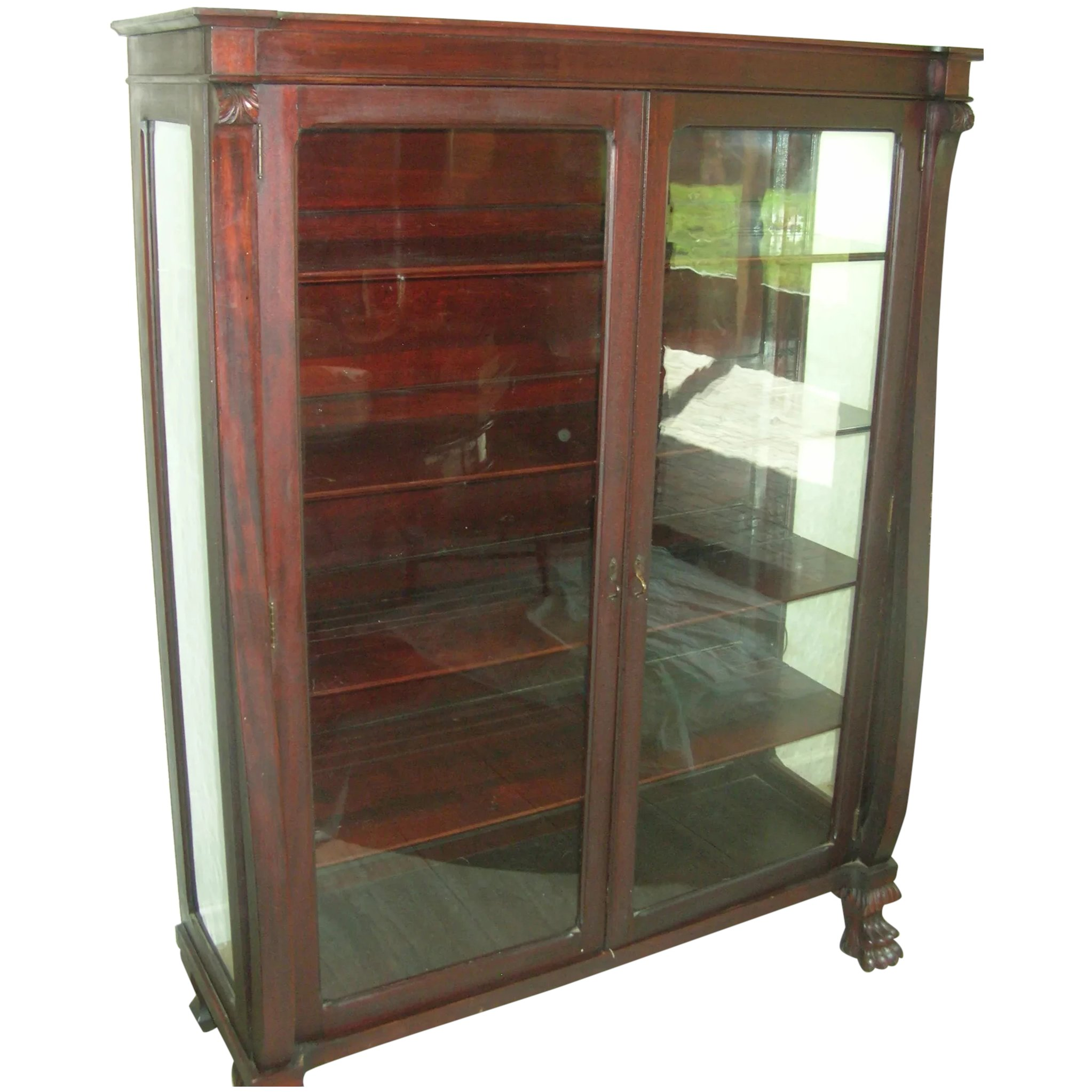 Antique Mahogany Bookcase Glass Panel Doors Claw Feet 1870 S Robbia Antiques Ruby Lane