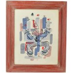 Mid Century Modern Whimsical Juggling Clown Gouache Painting Signed Ali
