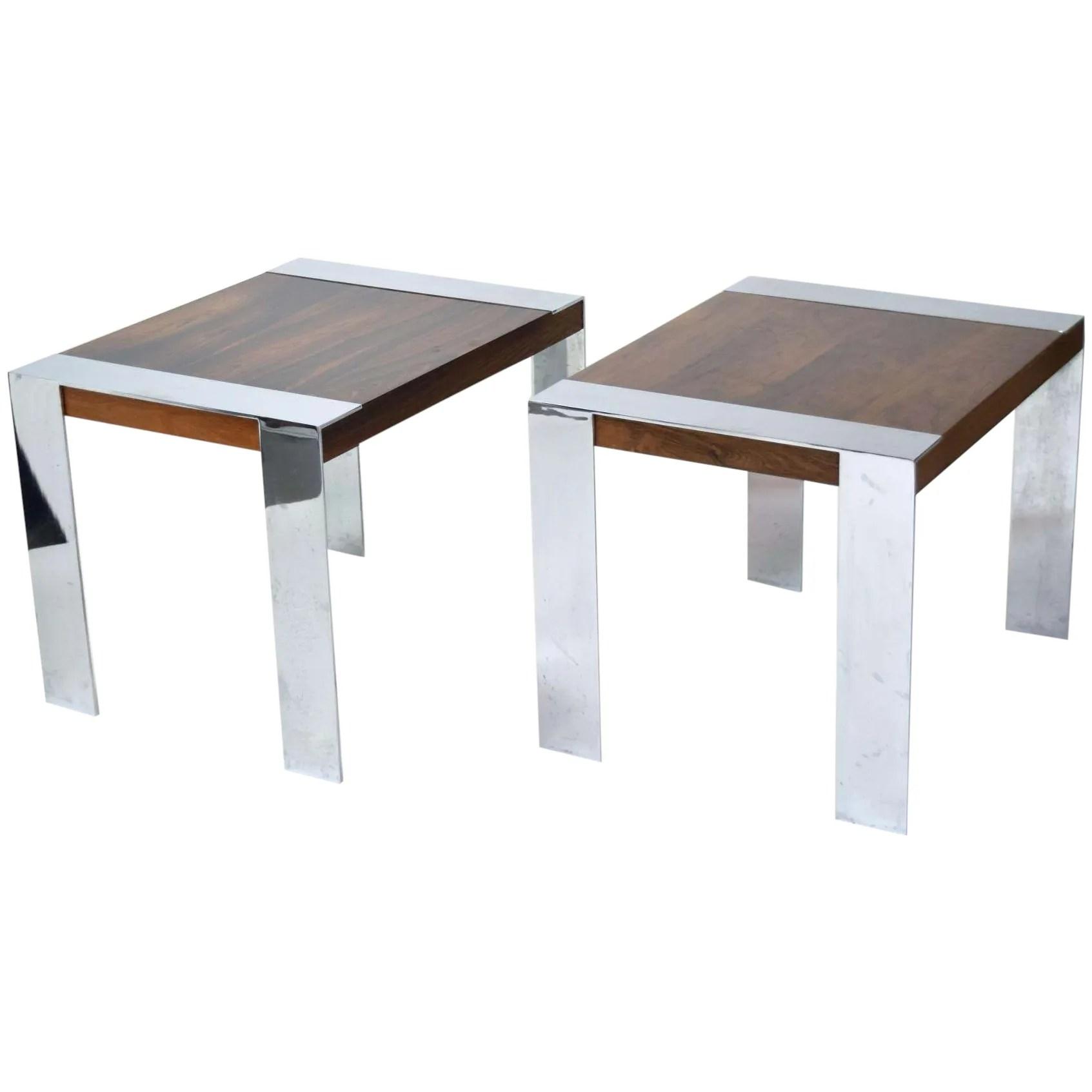 vintage pair milo baughman rosewood end tables chrome banding legs