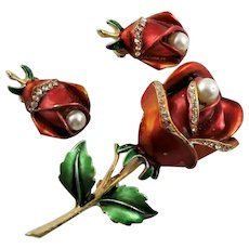 American Beauty Red Satin Enamel Rose Brooch By Cerrito