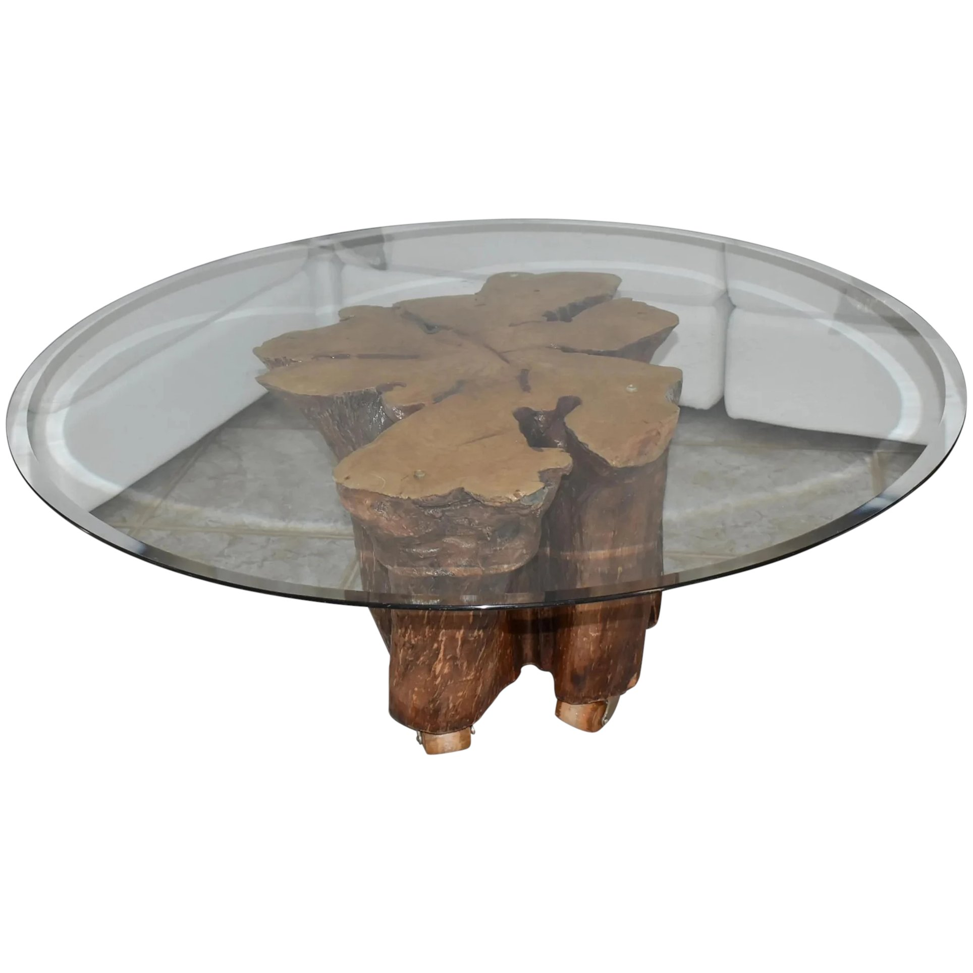 cypress tree stump coffee table w beveled glass top naturally sculpted base