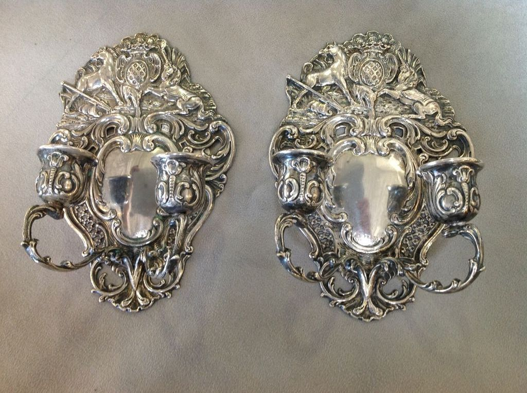 Pair of Unicorn Candle Sconces Ornate Crests 800 Silver ... on Silver Wall Sconces For Candles id=36347