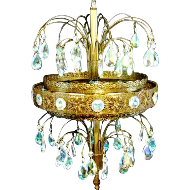 Vintage Large Crystal Waterfall Fountain Tear Drop Blue Prism Light Chandelier