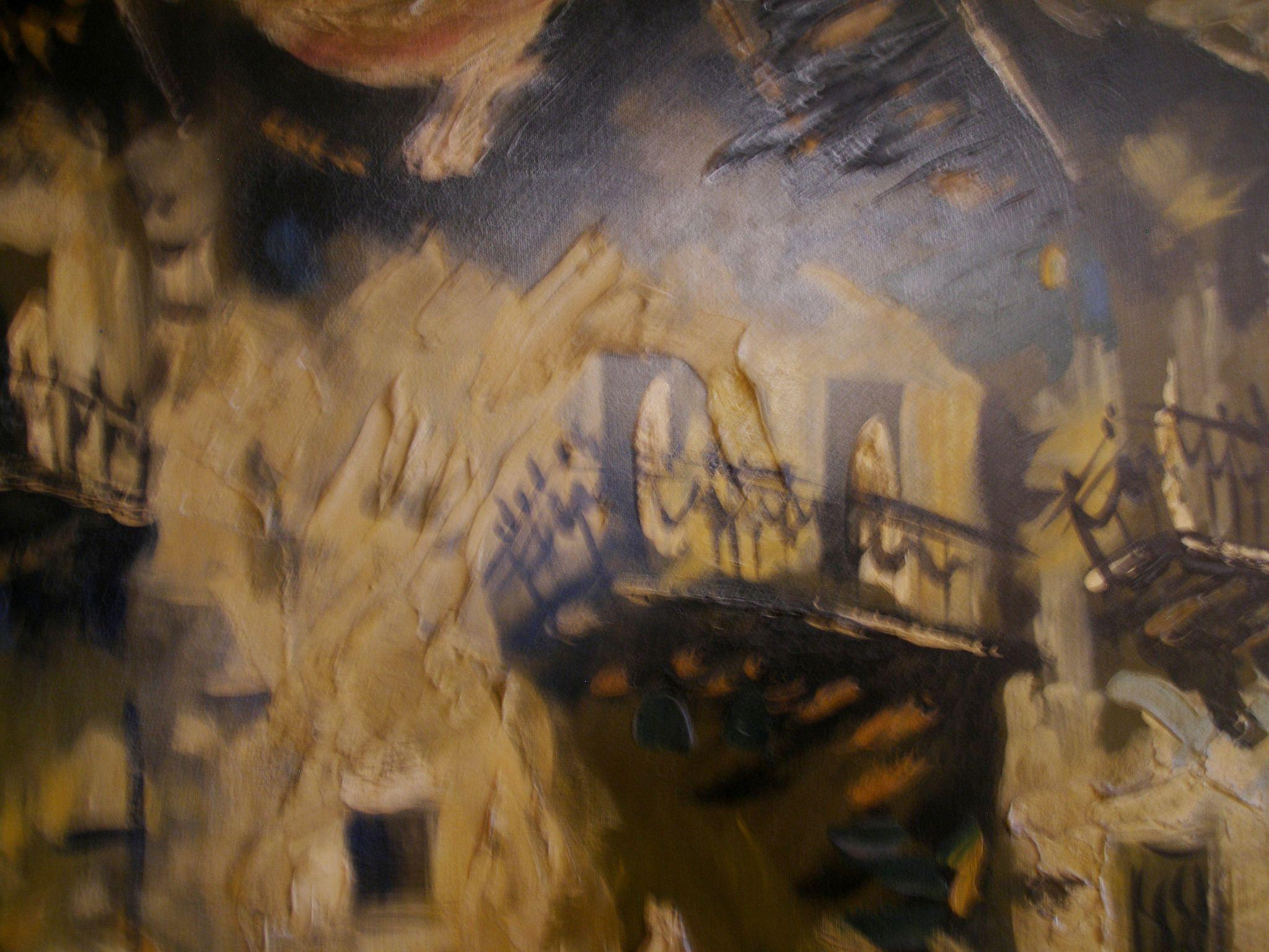 Vintage Carlo Of Hollywood Abstract Oil On Canvas Painting