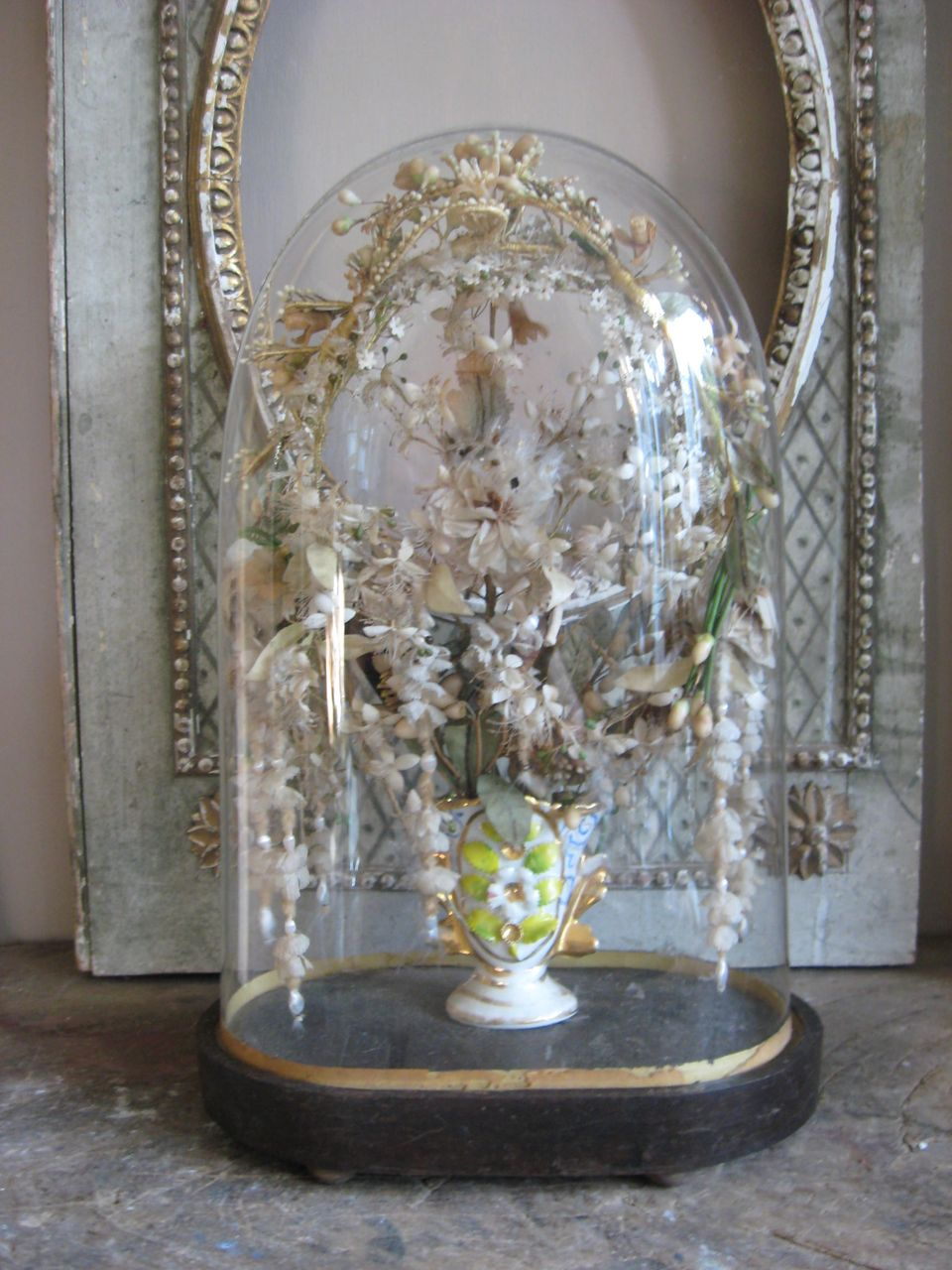 Beautiful Ornate Glass Dome With A Vase Porcelain Vieux