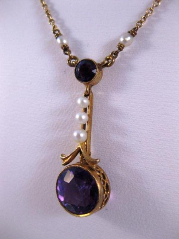 Stunning Antique 14K Gold Amethyst Amp Seed Pearl Lavalier