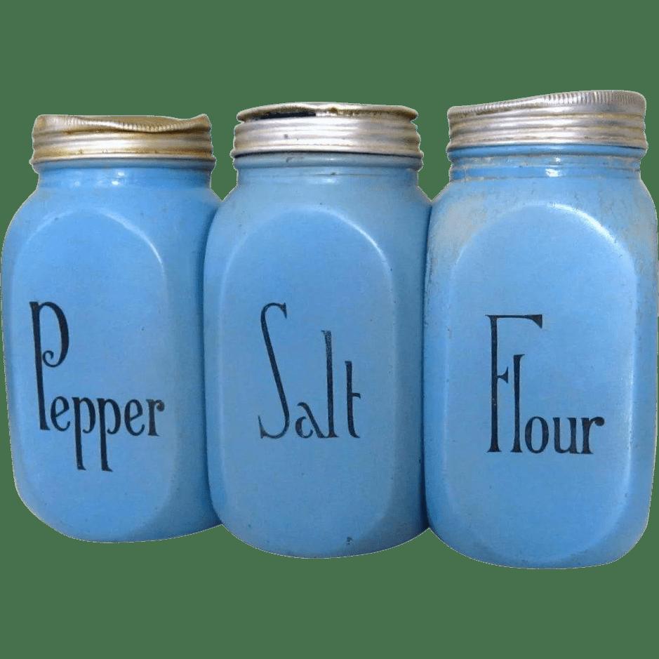 McKee Blue Salt Pepper Flour Range Shakers Vintage Lake