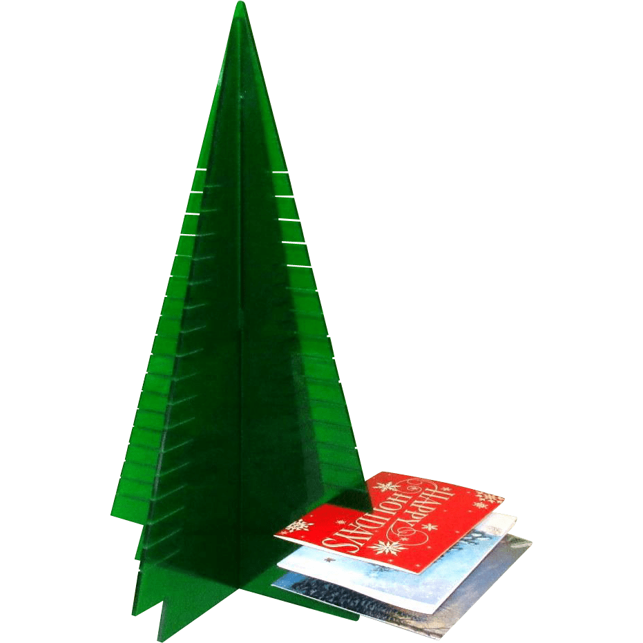 Lucite Christmas Tree Card Holder Display 1960s From