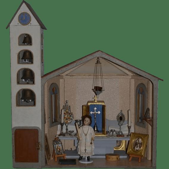 Old Doll Dollhouse Miniature Church W Bell Tower W
