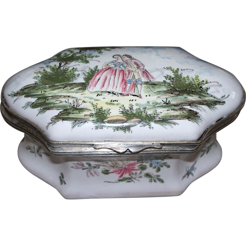 Antique French Faience Moustiers Casket Shaped Large Box Of Lovers Antique Charm Ruby Lane
