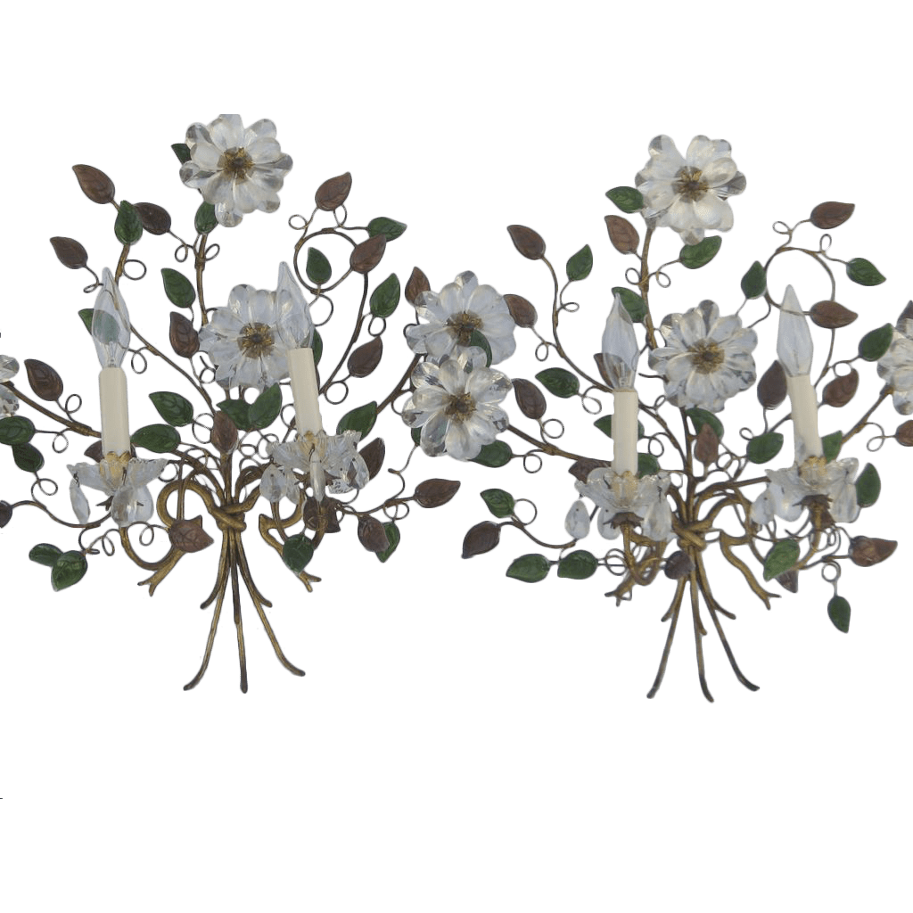 Pair of French Wall Sconces Bouquet Glass Flowers from ... on Wall Sconces With Flowers id=75054