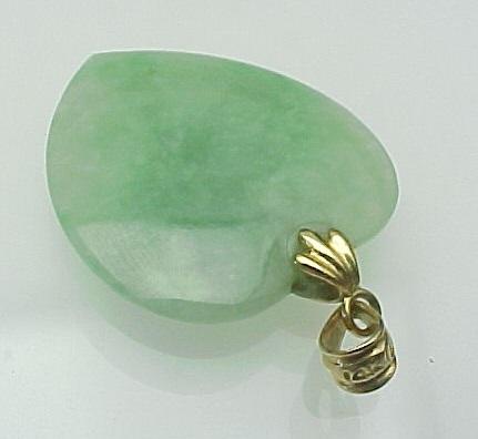 Vintage 14K Gold Carved Jade HEART Pendant From Rubylane Sold On Ruby Lane