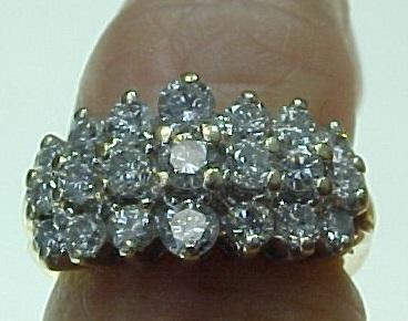 Vintage 14K Yellow White Gold Three Row 1 Carat Diamond Cluster Ring From Kingdavidstreasures On