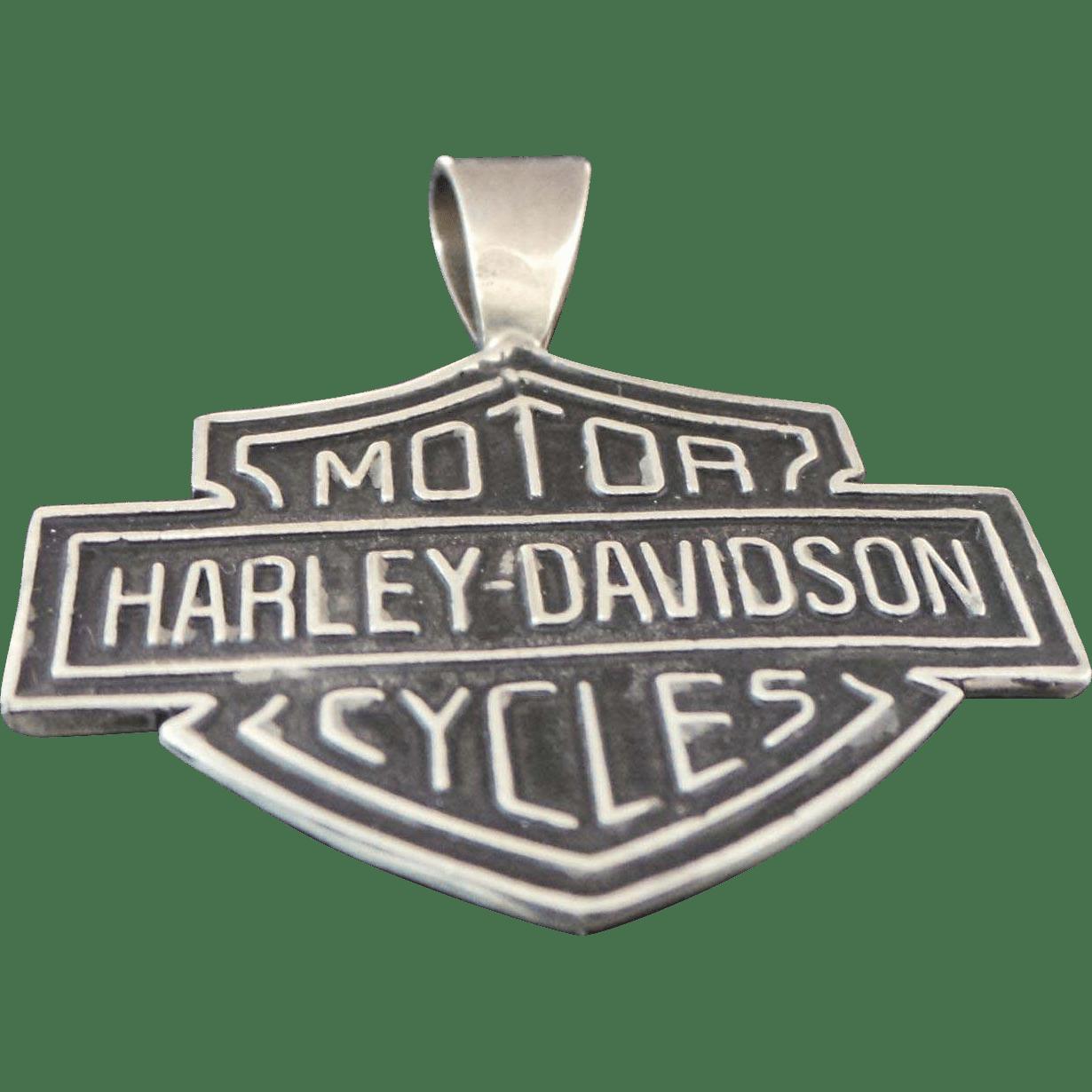Vintage Sterling Silver Large Harley Davidson Shield Pendant From Kingdavidstreasures On Ruby Lane