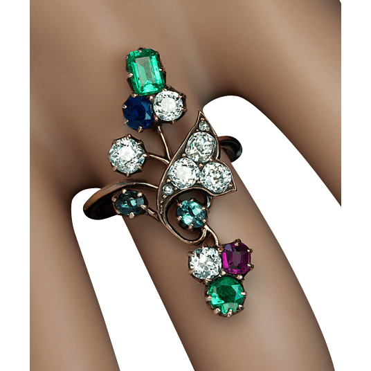 Antique Art Nouveau Gemstone Flower Ring Diamond Emerald