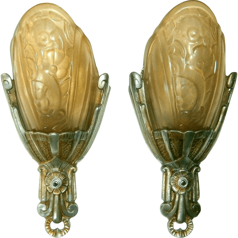 Vintage Pair Lincoln Fleurette Slip Shade Wall Sconces ... on Vintage Wall Sconces id=26406