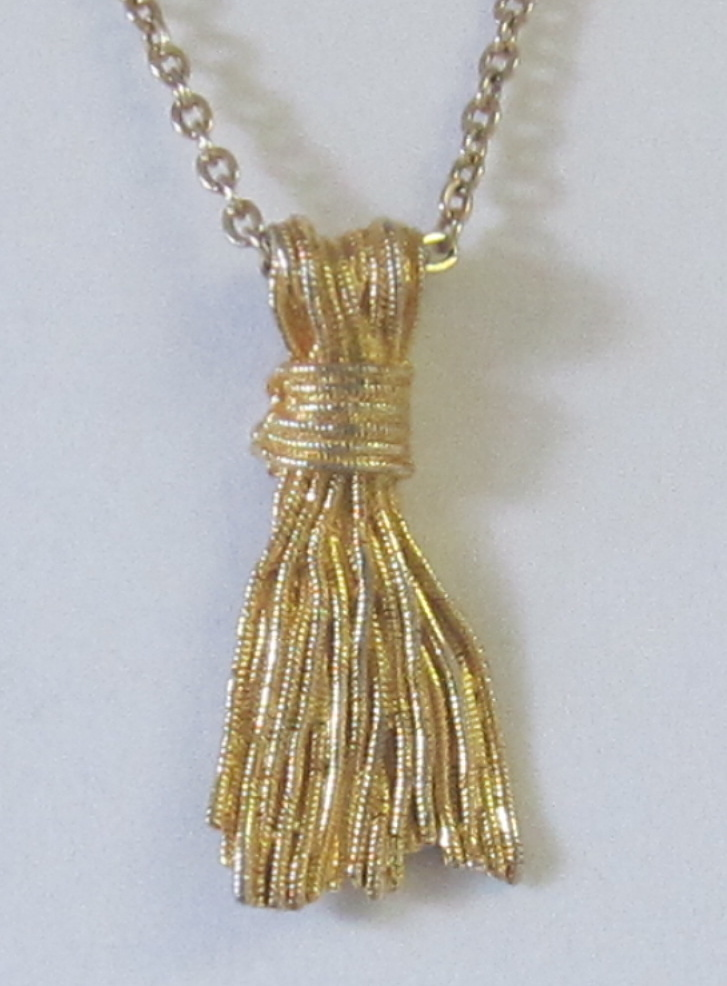 Vintage Gold Tone Tassel Pendant Necklace From