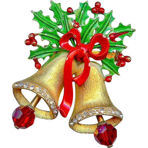 Vintage Weiss Green Red Enamel Holly Dangling Christmas