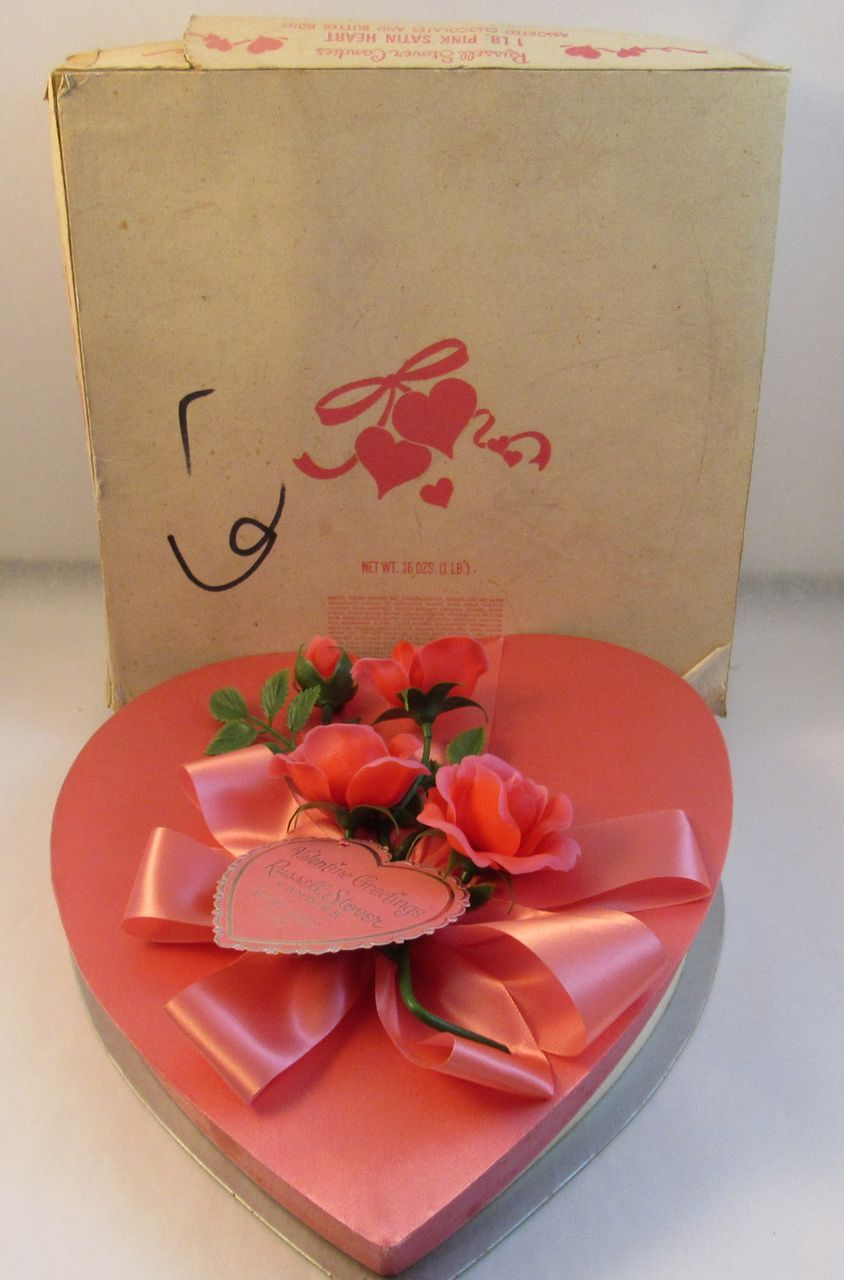 Vintage Pink Valentine Chocolate Heart Box Russell