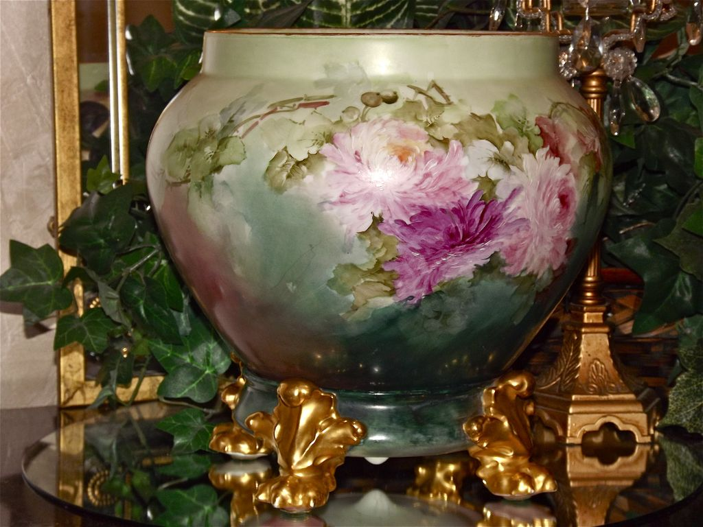 Limoges Large Jardiniere Planter Vase With Huge From