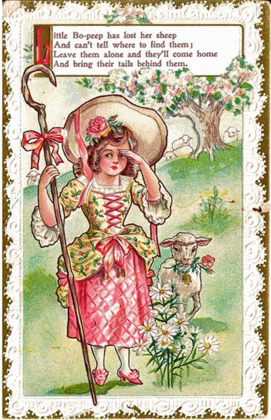 Little Bo Peep Nursery Rhyme Postcard from antique-ables ...