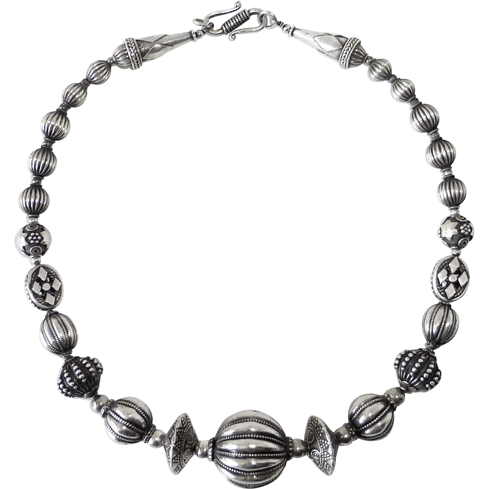Ethnic Sterling Silver Exotic Beaded Necklace From