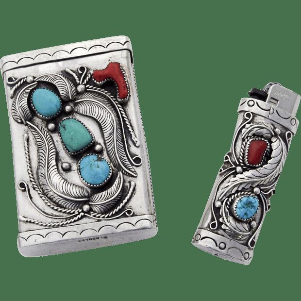 Navajo Silver Cigarette Case Lighter Set Turquoise Coral