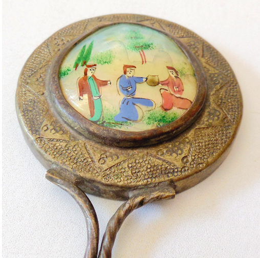Vintage Hand Held Mirror MOP Hand Painted Scene From