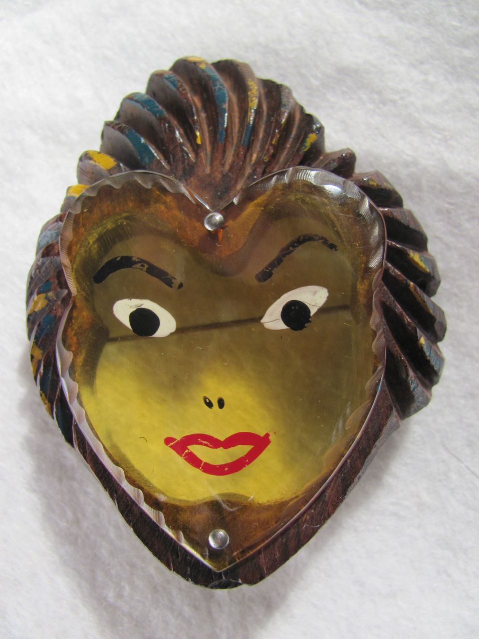 Art Deco Applejuice Bakelite Lady Face In Carved Wood