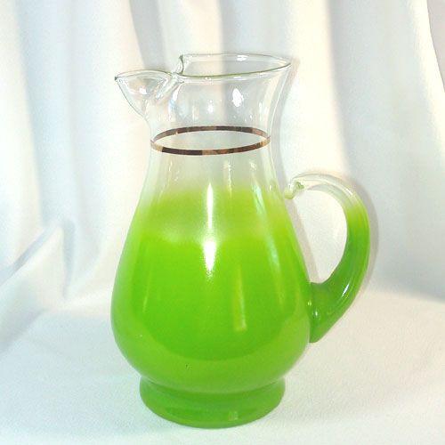 Blendo Lime Green Pitcher West Virginia Glass 25 Quart