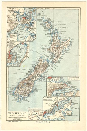 New Zealand Vintage Map From 1902 Lithograph From