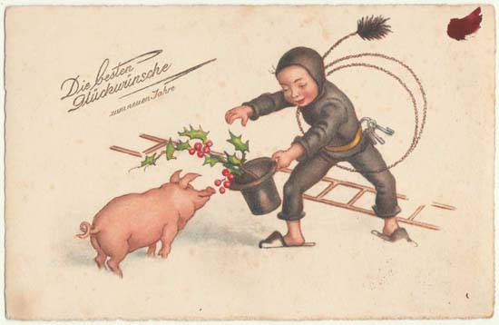 Vintage Postcard Happy New Year Chimney Sweeper And