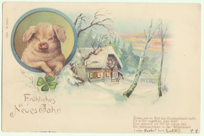 Happy New Year Postcard With Pig Special Technique