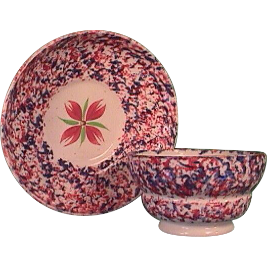 C1835 Red And Blue Spatterware Staffordshire Handleless