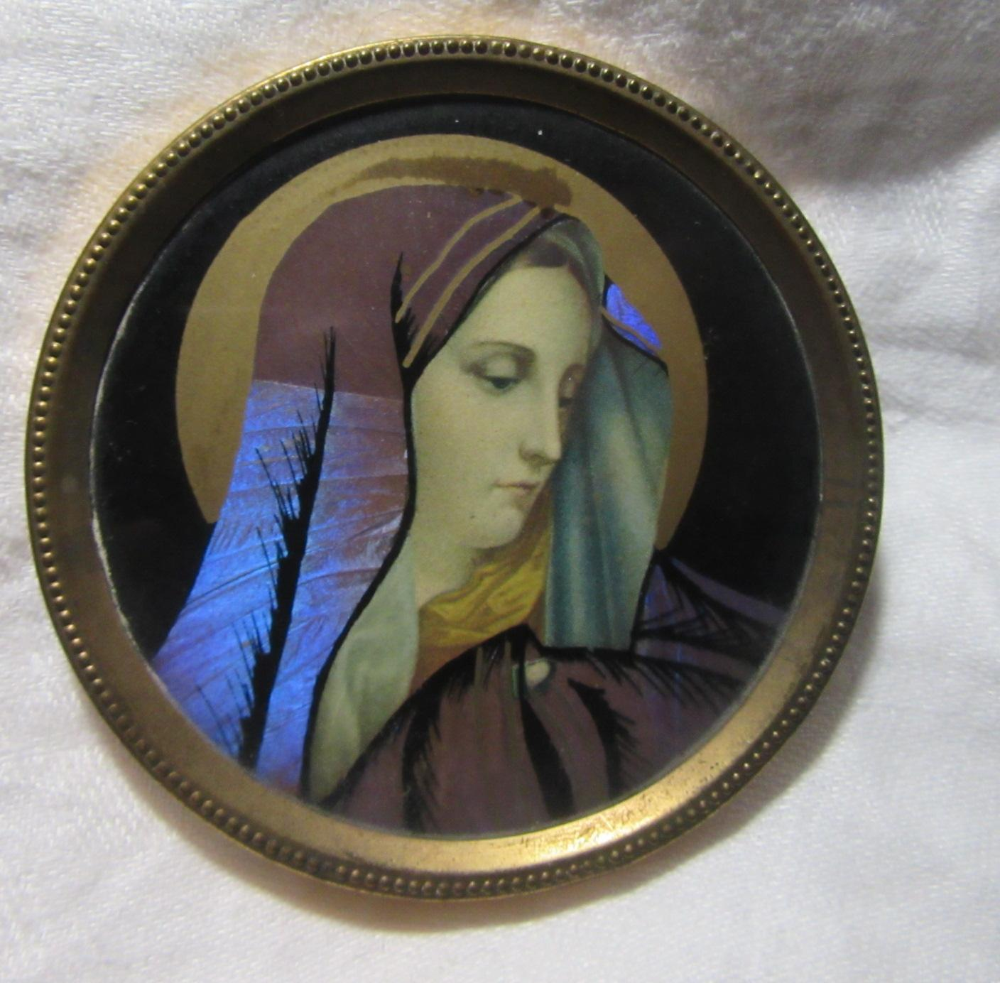Old Butterfly Wing Virgin Mary Miniature Art Our Lady Of