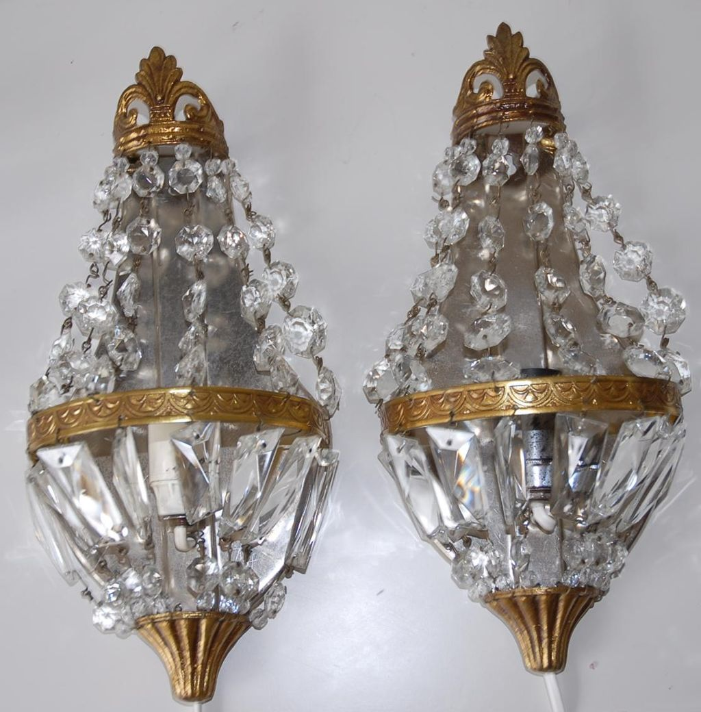 Pair French Vintage Bronze & Crystal 1-light Wall Sconces ... on Vintage Wall Sconces id=20339