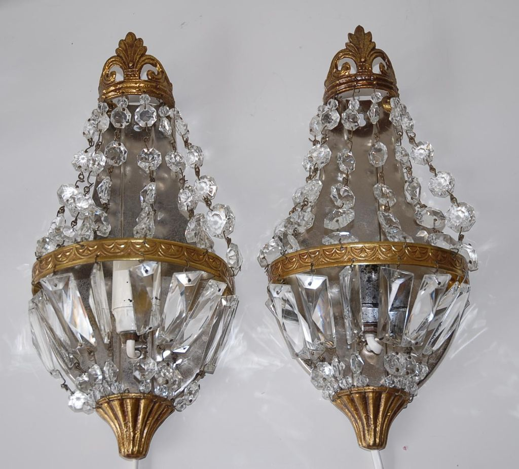 Pair French Vintage Bronze & Crystal 1-light Wall Sconces ... on Vintage Wall Sconces id=67327