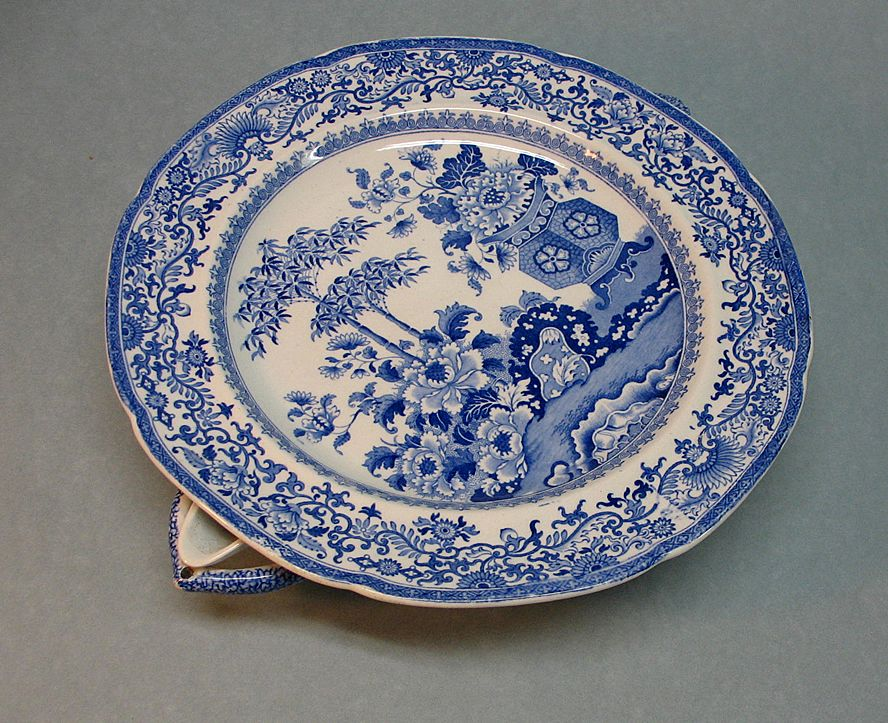 Blue And White Staffordshire Warming Dish Ca 1835 40