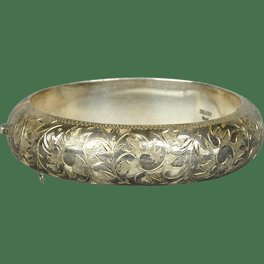 Antique Victorian 950 Sterling Silver Hinged Bracelet