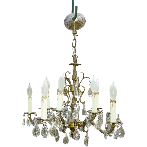 Vintage Spanish Brass Chandelier Dripping Prisms 10 Light