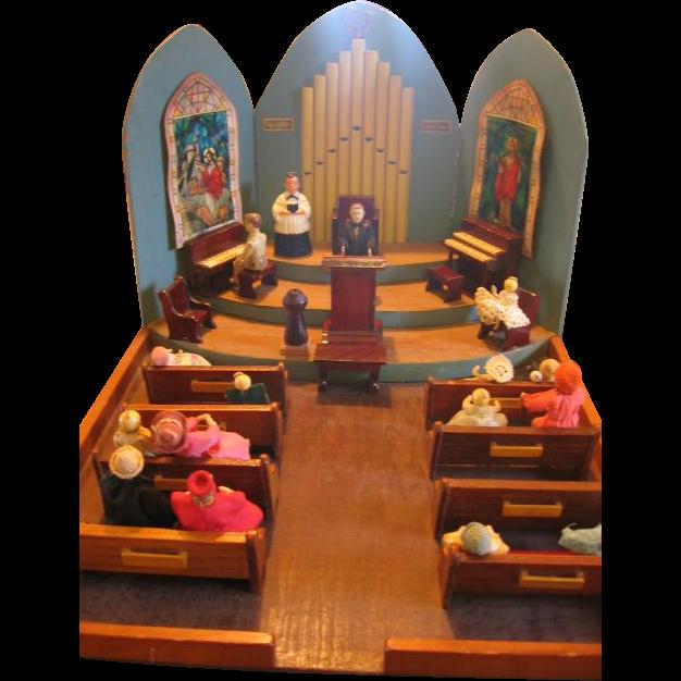 Amazing Diorama Handmade Miniature Church With Furniture