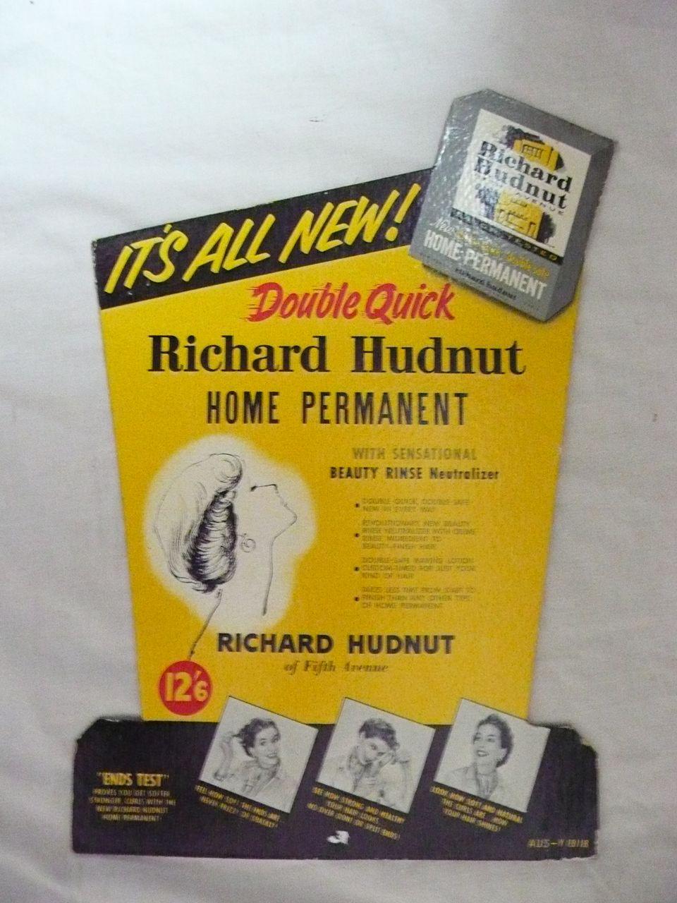 Old RICHARD HUDNUT Advertising Display Card Circa 1960s