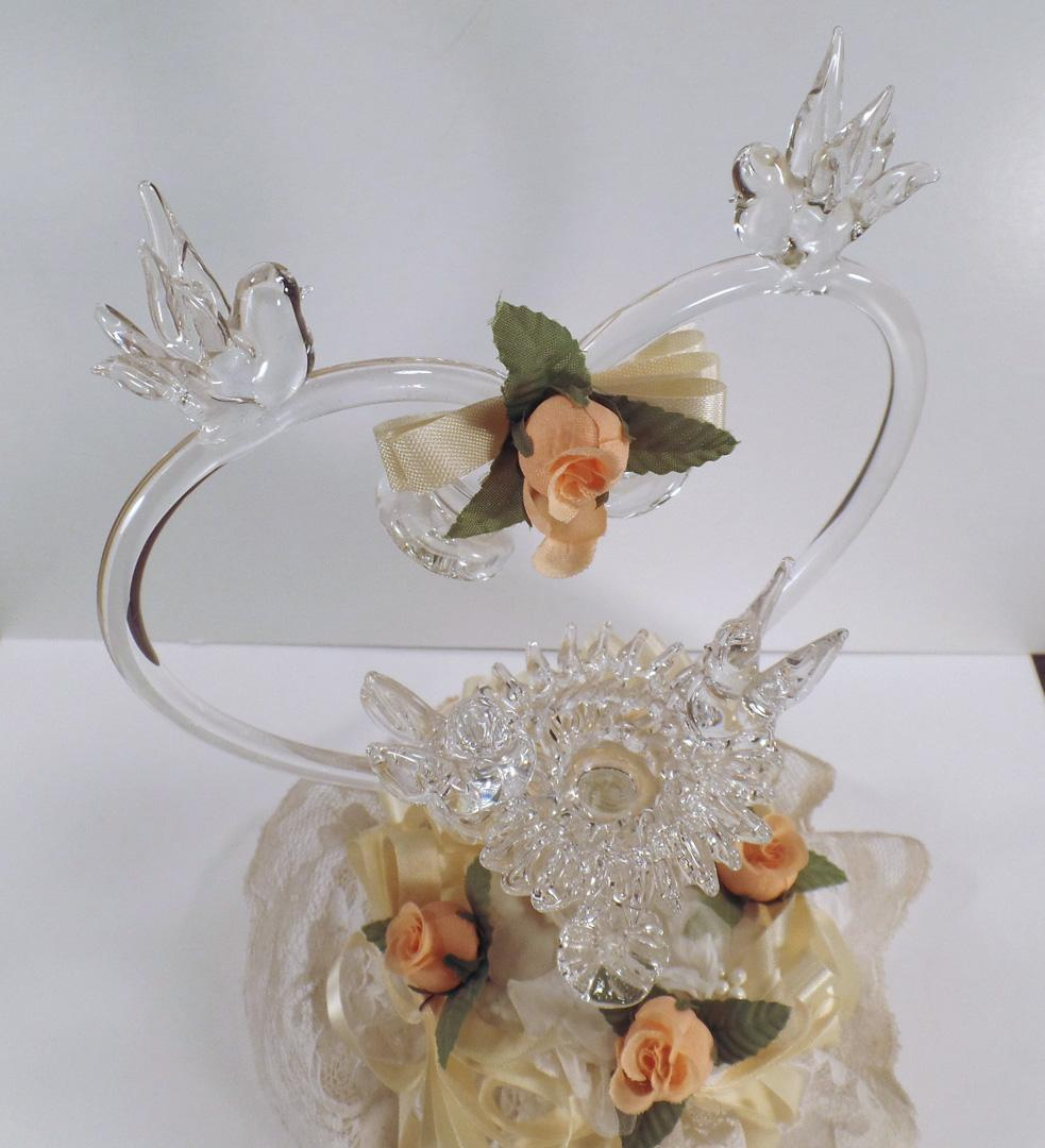 Vintage Blown Glass Wedding Cake Topper With Love Birds
