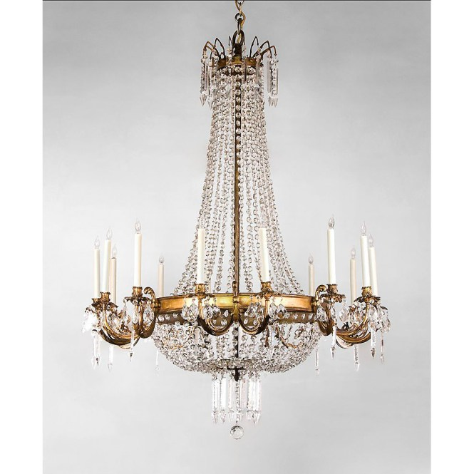 French Regency Style 14 Light Ormolu And Crystal Chandelier Sold Ruby Lane