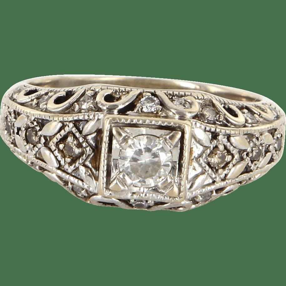 Vintage 14 Karat White Gold Diamond Right Hand Ring Fine